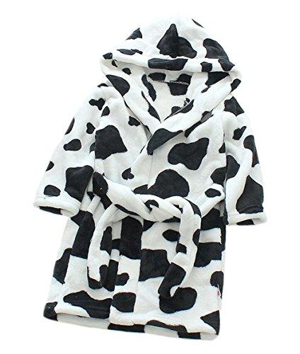 XINNE Unisex Kleinkinder Kinder Kapuzen Bademantel Jungen Mädchen Morgenmantel Cartoon Tier Pyjamas Flanell-Nachtwäsche Größe 90 Kuh