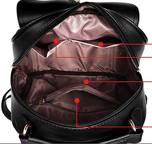 Keshi Pu neuer Stil Schulrucksäcke/Rucksack Damen/Mädchen Vintage Schule Rucksäcke mit Moderner Streifen für Teens Jungen Studenten Saphirblau 1