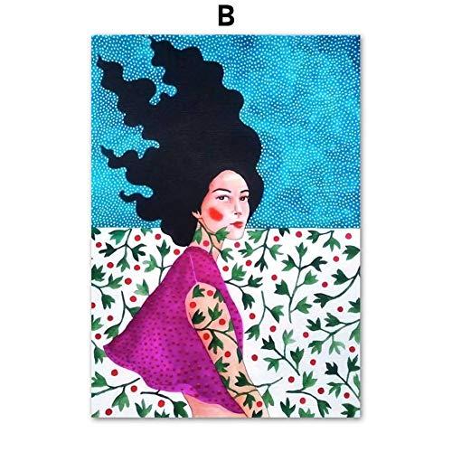 SUNNYFOR Rahmenlose Malerei Aquarell Mode Vintage Ungerahmt Mädchen Wandkunst Leinwand Malerei Nordic Poster Und Drucke Wandbilder Für Wohnzimmer Dekor -