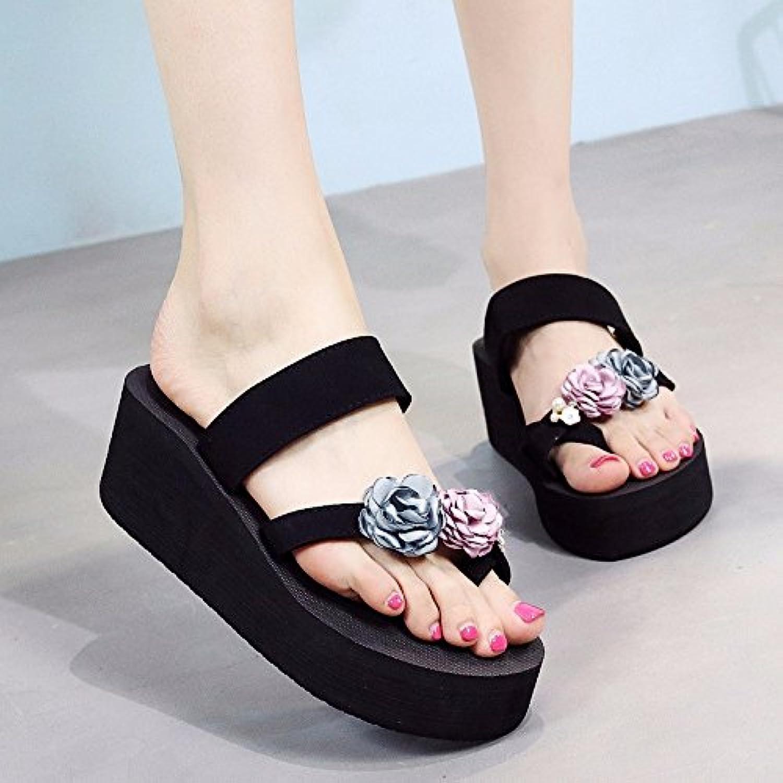 XIAOGEGE Zapatos de playa, zapatos de playa, versión coreana, ropa de moda, suela gruesa, solapas abatibles, pies...
