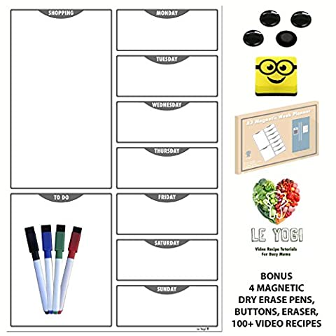 Magnetic Planner | A3 Daily Meal And Shopping Planner. Dry Erase Diet Organiser Memo Board With Magnetic Eraser, 4 Magnetic Markers, 4 Magnetic Buttons, 100 Video Recipes | Ideal for Bodybuilding, Weight Watchers, Ketogenic, Atkins and Diet Plans