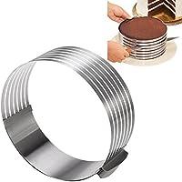 """KALREDE - Molde de tarta redondo de acero inoxidable, ajustable de 16 a 30 cm, cortador de tarta, accesorio para hornear, acero inoxidable, Cake Layer Slicer Cutter, 9"""" to 12"""""""
