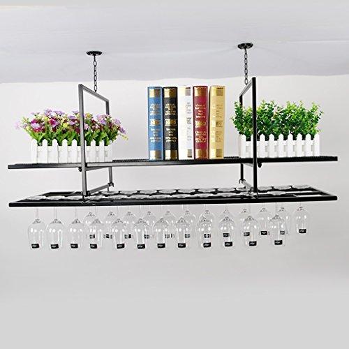 Weinregale Weinregal kreative Bar auf den Kopf Doppel-Rotwein Glas Bar Bar Weinglas Rahmen Rotwein Rack hängen europäischen Stil Eisen Fuß Tasse ceiling weingestell ( größe : 100cm ) (Fuß Eisen)