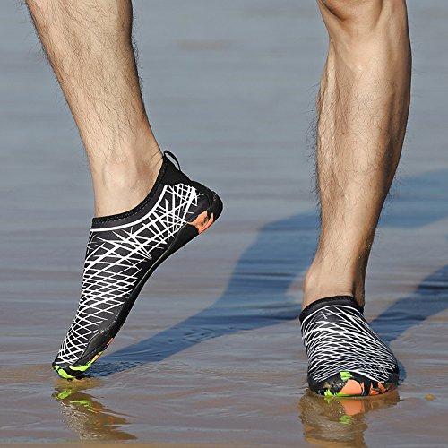 JACKSHIBO Herren Damen Barfuß Wasserschuhe Strandschuhe Unisex Atmungsaktiv Schwimmschuhe Aquaschuhe Surfschuhe Weiß 8Z4UNNHzbx