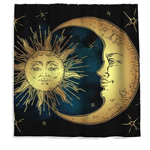 Sonne Mond Stern Duschvorhang Antischimmel Polyester Bohemian Duschvorhang für Badezimmer mit Haken 200x200cm - Mond Sterne Badezimmer Sonne Und