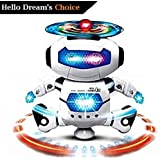 Hello Dream Original Dancing Naughty Robot with 3D Flashing Lights & Music for Kids, Battery Operated, Multi Color (360 Degree Dancing Smart Robot)