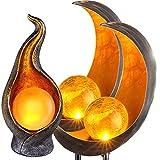 3er Set LED Solar Außen Lampen Steck Mond Steh Flamme gold bronze Garten Veranda Leuchten silber