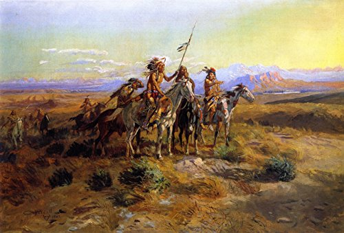 Price comparison product image OdsanArt 20 x 14-Inch Post Modernism Wild West 'The Scouts' by Charles Marion Russell High Quality Fine Art Prints on Canvas