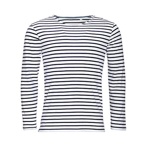 SOLS Marine - T-shirt rayé à manches longues - Homme (S) (Blanc/Bleu marine)