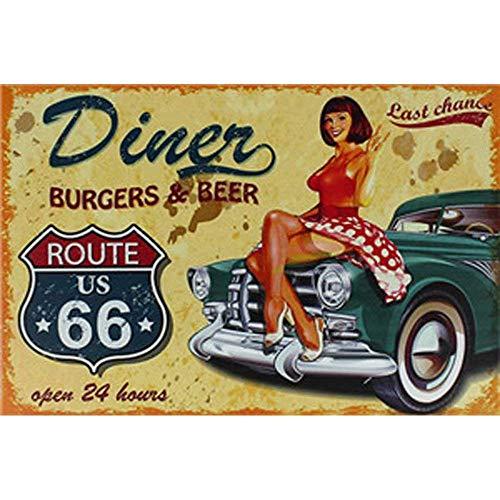 Froy Route 66 Hot Rod Car Diner Burgers Beer Wand Blechschild Retro Eisen Poster Malerei Plaque Blech Vintage Personalisierte Kunst Kreativität Dekoration Handwerk Für Cafe Bar Garage Hause -