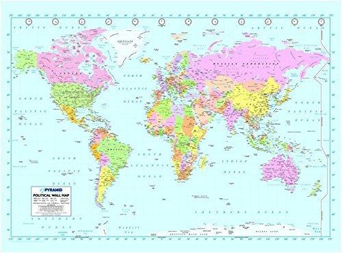 'Easy Hang' Tapete / Wandbild, Dekoration, sehr groß, verschiedene Designs und Muster erhältlich World Map B002 (Giant Map World Wandbild)