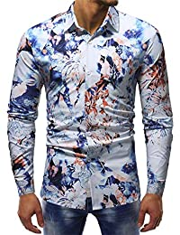 TVFWD Camisa Moda Impresa Blusa Casual Manga Larga Camisas Delgadas Tops algodón Camisa de Vestir para