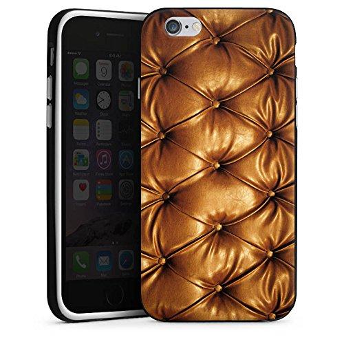 Apple iPhone X Silikon Hülle Case Schutzhülle Leder Muster Sofa Leder Couch Look Silikon Case schwarz / weiß