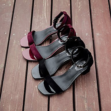 LvYuan Da donna Sandali PU (Poliuretano) Felpato Primavera Estate Fibbia Quadrato Nero Borgogna 5 - 7 cm Burgundy