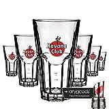 6 x Havana Club 0,3l Glas/Gläser, Cocktailglas, Markenglas, Longdrinkglas NEU + anygoods Flaschenausgiesser