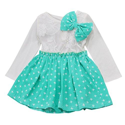 Longra Kinder Mode Kleinkind Baby Mädchen Herbst Kleidung Stern Bowknot Falten Tutu Kleid Party Hochzeit Prinzessin Kleid (100CM 12Monate, ()