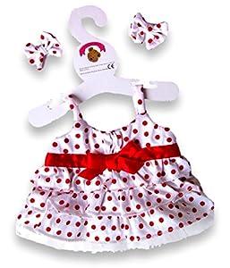 Construya su Bears Armario 15-Inch Ropa Fit Construye Oso Vestido de Lunares (Rojo)