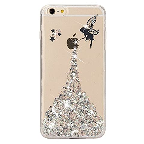 iPhone 7 Case,iPhone 7 Crystal Clear Bling Glitter Silicone Case,Sunroyal Fairy Angel Girl Pattern Ultra Slim Ultra Slim Anti-Scratch Clear TPU Gel Rubber Thin Flexible Soft Bumper Protective Case Cover for iPhone 7 4.7 inch - Sliver - Bumper Shell