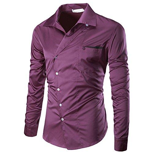 PIZZ ANNU Herren Einfach Einfarbig Cord Langarm-Shirt C1024 Lila