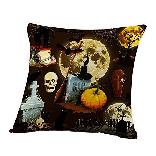 Halloween Kissenbezüge,H-fragrance Bettwäsche aus Baumwolle Sofa Kürbis Geister Kissen Abdeckung Zuhause Dekor (F Ideen Kostüme)