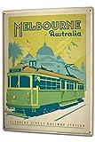 Blechschild XXL Stadt Melbourne Australien Strassenbahn
