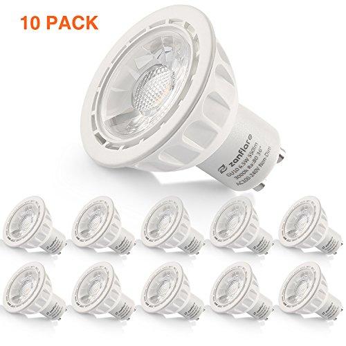 Weiße Landschaft Beleuchtung (Zanflare ER 6,5 W 10 GU10 LED Licht, entspricht 60 W Halogen-Glühlampe, 550 Lumen LED Strahler Lampe für versenkte, Akzent-, Track und Landschaft Beleuchtung, Nicht dimmbar, warm weiß 3000 K)