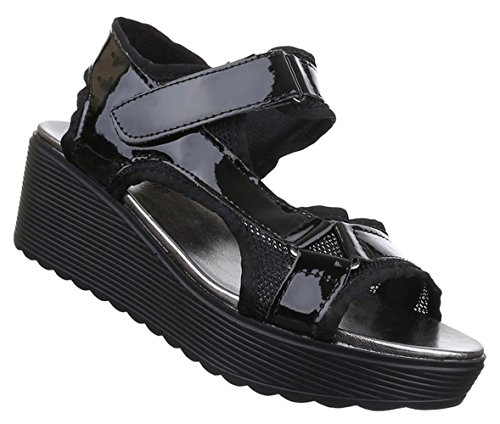 Damen Sandalen Schuhe Dianetten Plateau Damenschuhe Schwarz