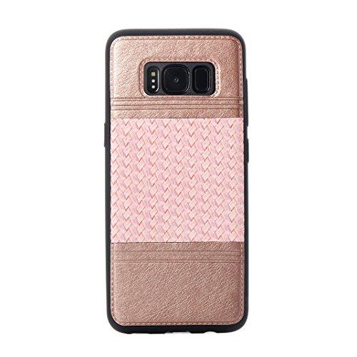 Cover Per Samsung Galaxy S8, Asnlove TPU Moda Morbida Custodia Linee Intrecciate Caso Elegante Ultra Sottile Cassa Braided Stile Tessere Case Bumper Per Samsung Galaxy S8 - Rosa Rosa