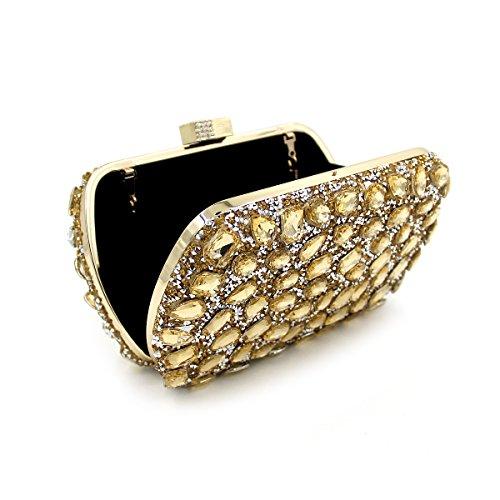 WYB Box Abendtasche / Flachseitige Diamantbohrungen heißen Handtasche / europäische und amerikanische Mode-Taschen Gold