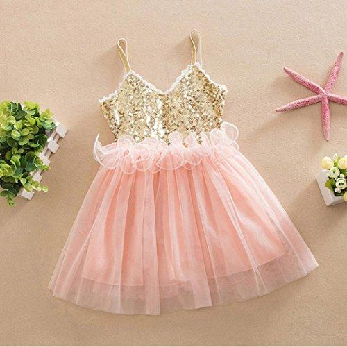 ... si vestono abbigliamento per bambini vestito da bambino principessa  paillettes bambino tulle pizzo tutu Slip gonna (Rosa 40c43a3726e