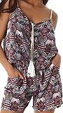 Enzoria Damen Overall Anzug Hausanzug Jumpsuit Bodysuit Einteiler Kurz Trendy Hosenanzug 36,38,40 Weiß