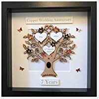 Personalised 7 Years 7th Copper & Black Wedding Anniversary Family Tree Picture Frame Gift