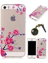 TPU Cuir Coque Strass Case Etui Coque étui de portefeuille protection Coque Case Cas Cuir Swag Pour iPhone 5 / 5s / SE +Bouchons de poussière (P6)