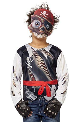 Wilbers Kinder Kostüm Shirt Totenkopf Pirat mit Maske Karneval Fasching Gr.M (Piraten Kostüm Shirts)
