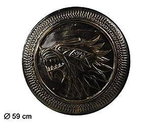 Atosa-62086 Atosa-62086 - Accesorio para disfraz de romanos y griegos escudo 59 cm, unisex, para adultos, color dorado, talla única