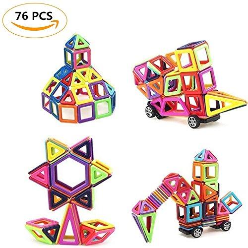 Fayanough Magnetische Bauklötze Set, Regenbogen Magnetische Bauklötze Konstruktion Bausteine Blöcke Kreative und Pädagogische Magnet Spielzeug Tolles Geschenk für Baby Kleinkind ab 3 Jahre (76 Pack)