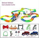 Qifumaer Tracks Magiques Circuit de Voiture Flexible, Track Car Magic avec Design...