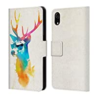 Official Robert Farkas Sunny Stag Hipster Animals Leather Book Wallet Case Cover Compatible For iPhone XR
