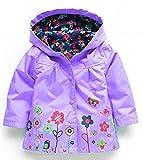 QZBAOSHU 2-6 Anni Bambino Giacca Impermeabile con Cappuccio Outwear Pioggia Cappotto delle Bambine e Ragazze (110: misura per altezza 100-105 cm, Viola)