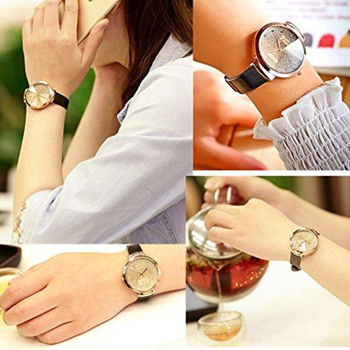 JSDDE Uhren,Elegante Damen Armbanduhr Braunglas Glitzer Dial XS Slim PU Leder-Band Ladies Dress Analog Quarzuhr,Schwarz - 5