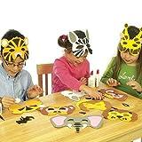 Photo de Baker Ross Lot de 6 kits de fabrication de Masques en Mousse - Motif Animaux de la jungle comprenant un Singe, Tigre, Lion, Elephant, Zèbre & Giraffe - Idéal pour le Carnaval. par Baker Ross