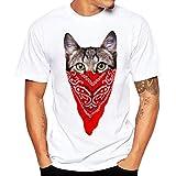 Angebote,Neue Deals,Herren T-Shirt Ronamick Katzen Männer Druck Tees Shirt Kurzarm T Shirt Bluse Runde Kragen (Rot, XXXL)