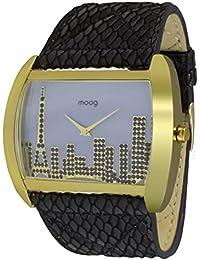Moog Paris Skyline Reloj para Mujer con Esfera Nácar Gris, Correa Gris de Piel Genuina