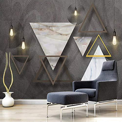 Fotomurali Geometrico Triangolo Marmo Motivo Salotto Tv Sfondo Foto Wallpaper Murale Imitazione Panno Di Seta 300X210Cm
