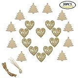 Tomkity 10 pezzi Amore Cuore Legno con 10 pezzi Albero Di Natale Porta di Segno di Porta Appendente per la Decorazione