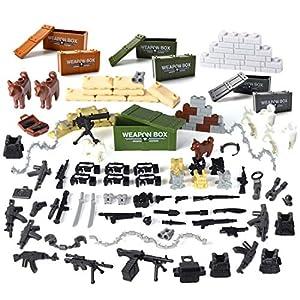 OviTop Mini Figurine Accessoires Armées Supplémentaire Incluant Valise, Bastion, Chien Policier, Armure, Télescope, Figurines Cadeau Idéal pour Enfants