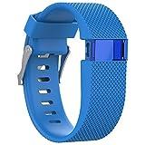 BlueBeach Adjustable Fitbit Charge HR Reemplazo Correa de Reloj Banda de Silicona Pulsera (Azul)