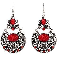 Hosaire 1 Par de niñas chicas Europa y los Estados Unidos palacio populares retro hueco tallado regalos pendientes pendientes de la manera (rojo)