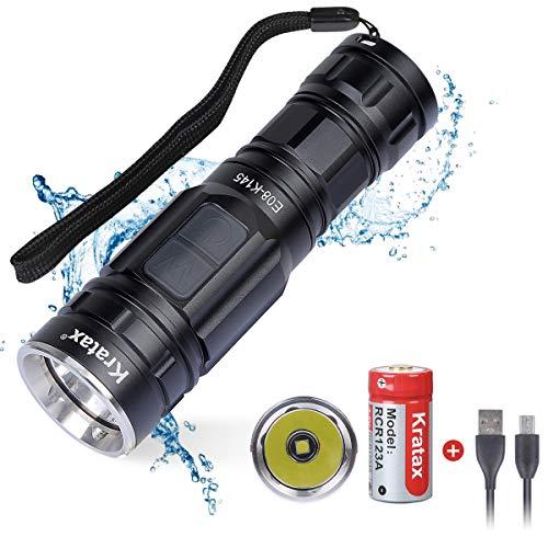 Kratax Torcia LED Ricaricabile Portatile Mini 700 lumens 5 Modalità Impermeabile IPX7 Gittata 118m Ricaricabile USB per Escursionismo Campeggio, Luce Cinturino per Bicicletta Inclus