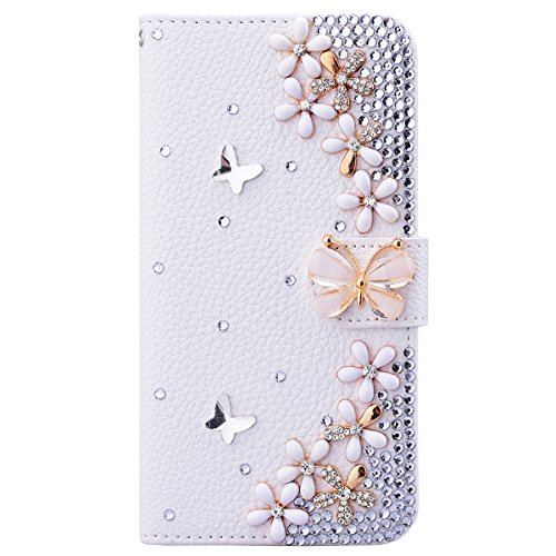 Nokia Lumia 650 Cover PU Pelle, Interno Rigida Leather Wallet Stand Case per Porta Carte di Credito, Disegno di Cristallo Bling Strass Diamond Pattern Custodia Supporto Funzione Chiusura Ventosa Caso Protettiva Portafoglio Copertina per Regalo di Natale - Bella Fiori